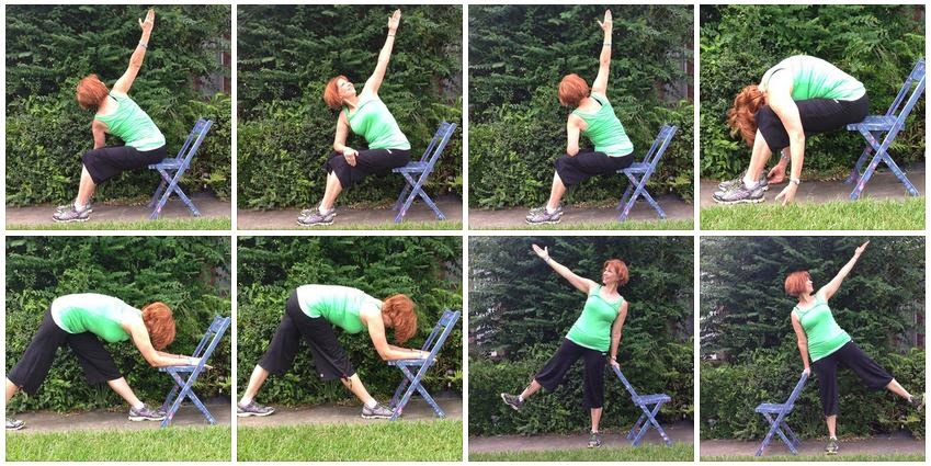 Chair Yoga in the park.  Green with benefits of regular yoga class, done seated or using the chair as a prop.