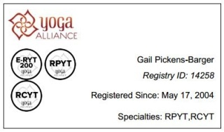 Yoga Alliance - ERYT, RCYT, RPYT - Gail Pickens-Barger