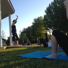 Prayer Garden Yoga with Gail Pickens-Barger at Wesley UMC in Nederland, Texas. Be sure to flex the toes towards the nose in this hamstring stretch!