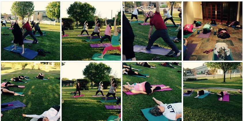 Yoga near me 77627, in Nederland, Texas. Show a bit of the people enjoying yoga. This class was normally done in the foyer of the church sanctuary, and on good weather days, we'll take the yoga outside at the prayer garden gazebo.