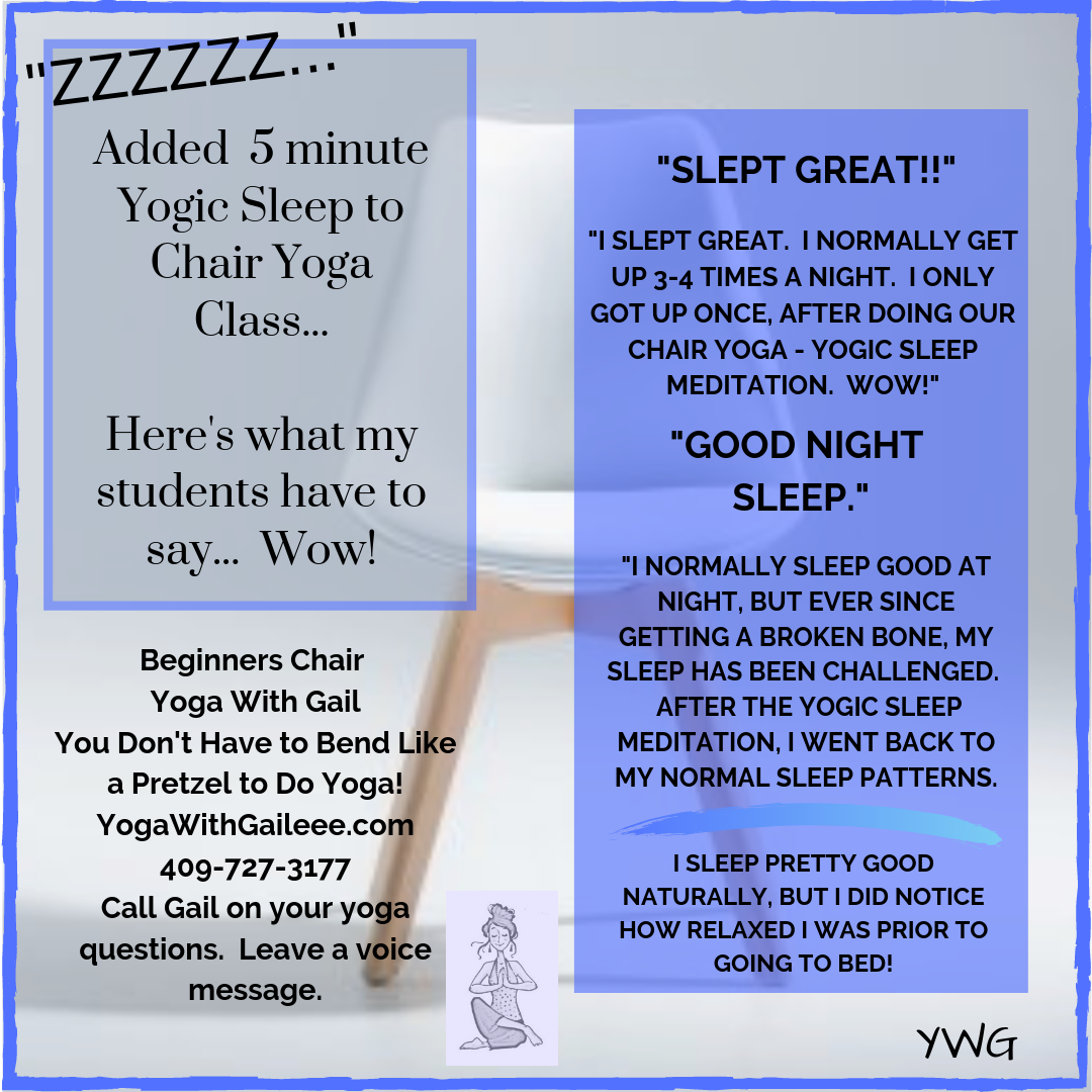 Five minutes of yogic sleep added to chair yoga – Nederland, Texas