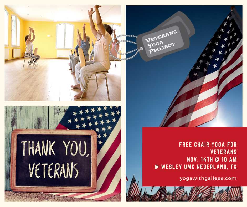 Free Yoga Class for Veterans, Nov. 11th & Nov. 14th, 2019 in Nederland, Texas.