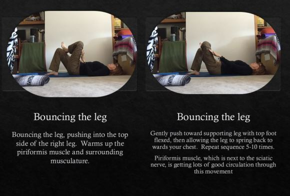 Bouncing the leg to warm up the piriformis musculature - Yoga with Gail - Easing Back Pain