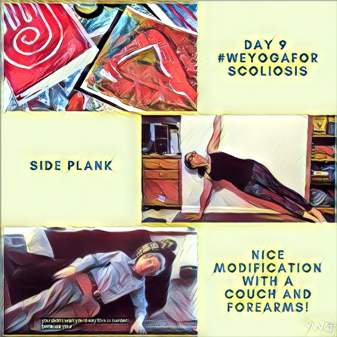 #weyogaforscoliosis Side Plank - Nice modification with a couch and forearms, Dr. Loren Fishman demonstrates! Yoga with Gail. Yoga near me.