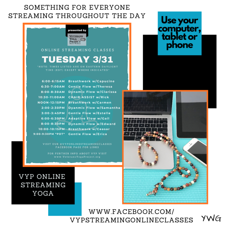 Tuesday schedule for Veterans Yoga Project Online Streaming Classes Facebook Page - I teach at 5 PM Central. Gail Pickens-Barger