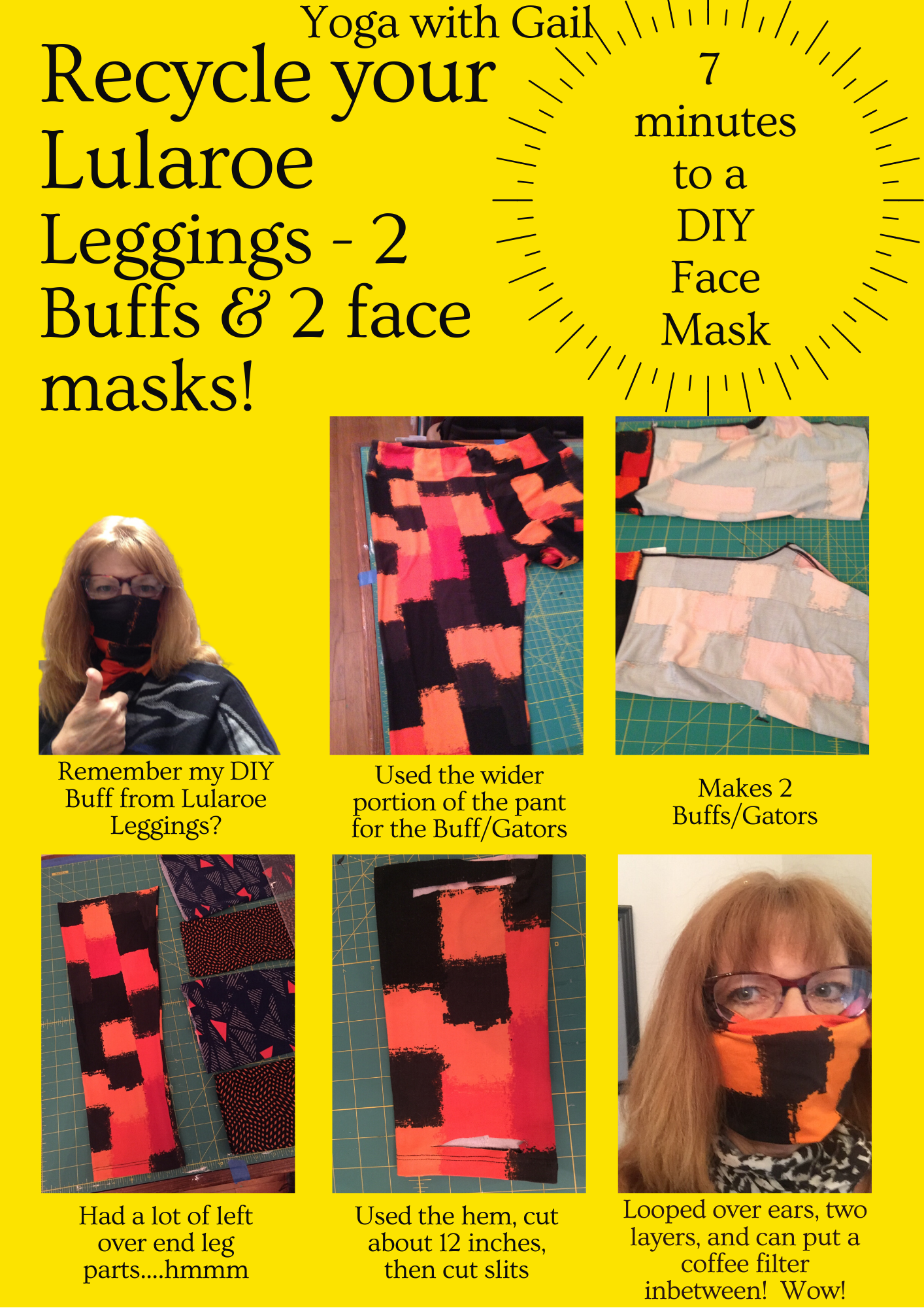 Recycle your LuLaRoe Leggings and make two Buffs/Gators and two Face Mask Coverings.