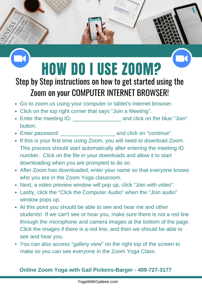 How DO I use Zoom for Yoga with Gail on my Desktop Computer