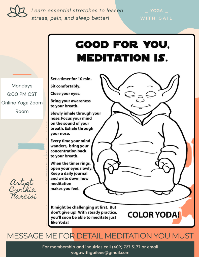 Good for you, Meditation is! Cynthia Narcisi Artist
