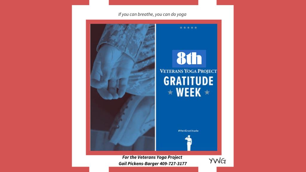 8th annual Veterans Yoga Project Gratitude Week - November 5th - 14th, 2021