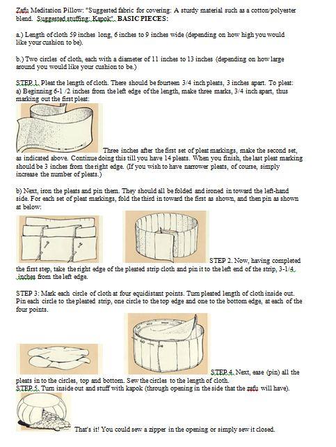 Zafu Meditation Pillow Instructions