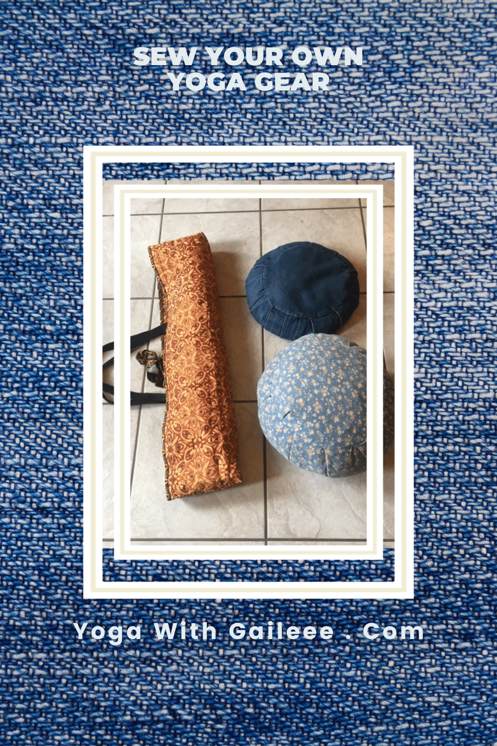 Using my Pfaff and Singer Featherweight Vintage sewing machines, I've made many items for my yoga practice.  Yoga mat bags, bolsters, zafu meditation cushions and eye pillows.  Yoga with Gail.