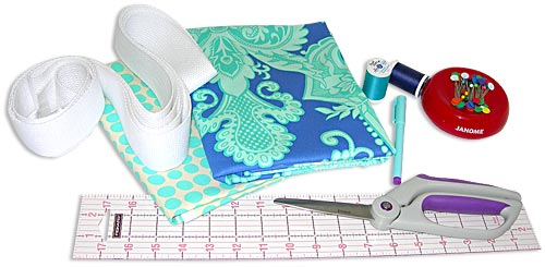 Fabric and other supplies needed for the Yoga Mat Bag Sewing Project.  Make your own yoga gear with Gail